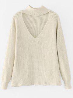 Drop Shoulder Keyhole Neck Sweater - Beige M