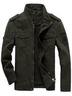 Veste Design Patchée Épaulette Zippée Avec Poches à Rabat - Vert Olive   Xl