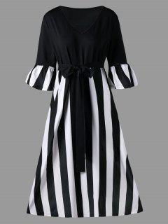 Plus Size Striped Tie Belt Tea Length Dress - Black Stripe 2xl