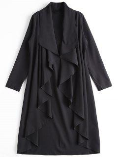 Asymmetrical Open Front Trench Coat - Black 2xl