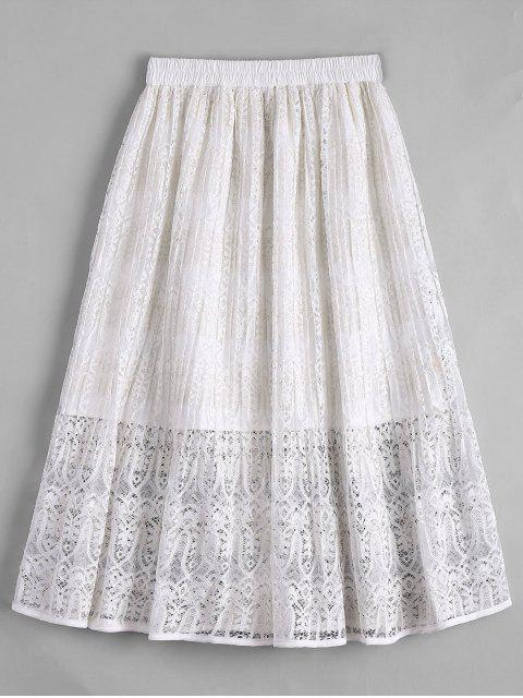 women Lace Tea Length High Waisted Skirt - WHITE S Mobile
