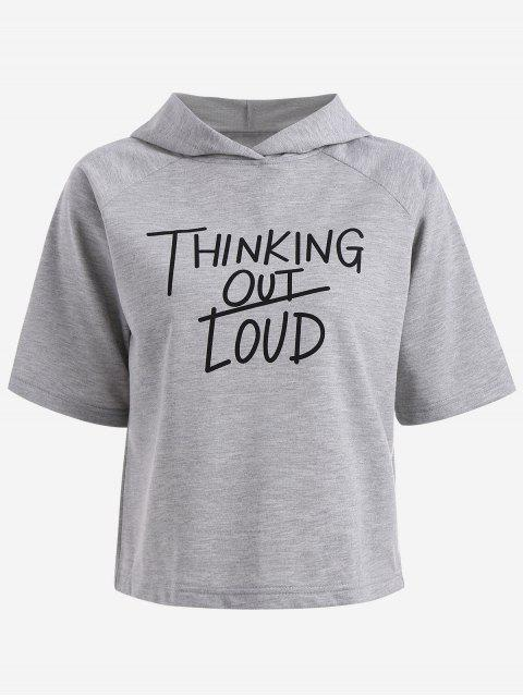 sale Hooded Thingking Out Loud Graphic Top - FEATHER GRAY S Mobile