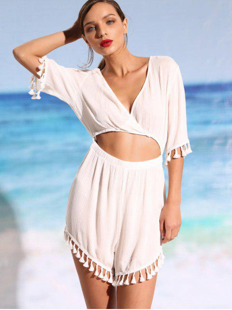 chic Cutout Tassel Cover-up Romper - WHITE L Mobile