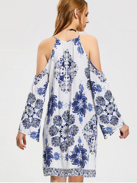 Mini Robe Florale à Épaules Ouvertes - Blanc S Mobile