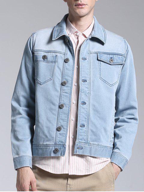 Slim Fit Button Up Denim Jacket - Bleu clair 2XL Mobile