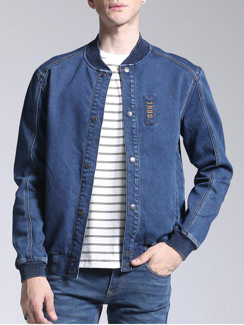 Patch Deisgn Stand Neck Denim Jacket - Azul M Mobile