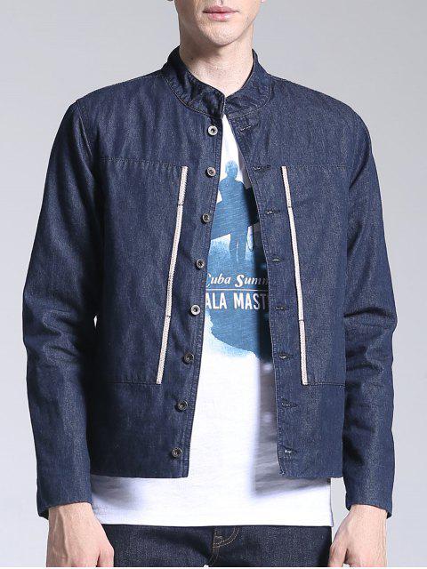 ladies Corduroy Lining Patch Design Denim Jacket - BLUE L Mobile