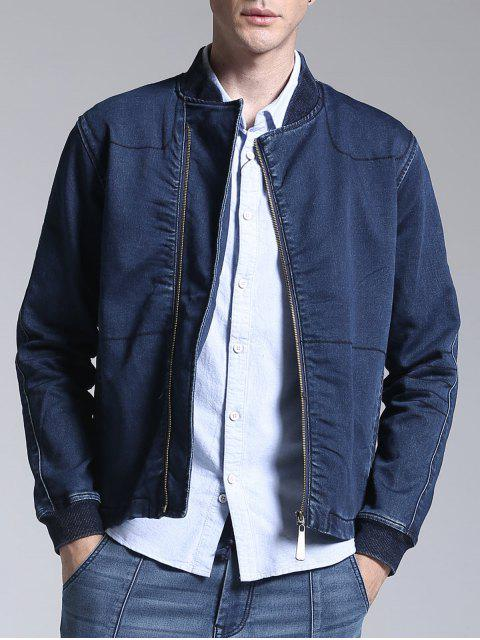 fashion Stand Neck Zippered Denim Jacket - BLUE 3XL Mobile
