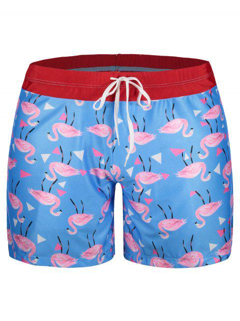 fashion Patch Flamingo Print Swim Trunks - LAKE BLUE XL Mobile