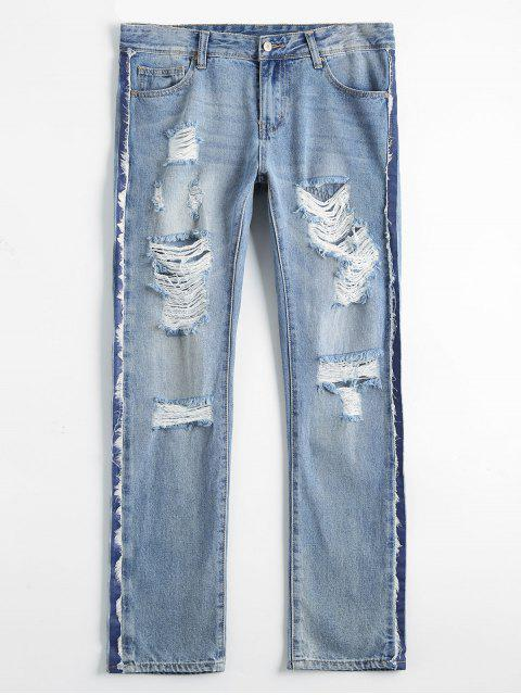 Bleach Wash Destroyed Tapered Jeans - Denim Bleu 30 Mobile