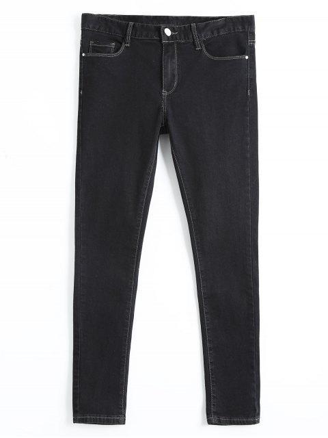Jeans Crayon Skinny à Taille Haute - Noir 28 Mobile