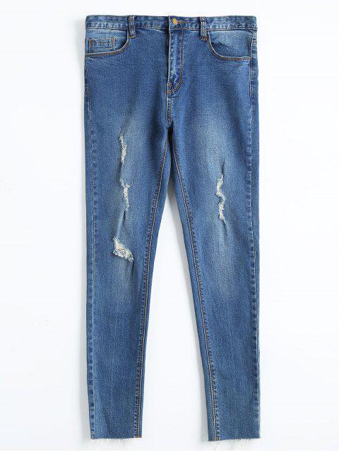 Jeans Crayon Skinny Déchiré - Denim Bleu 30 Mobile