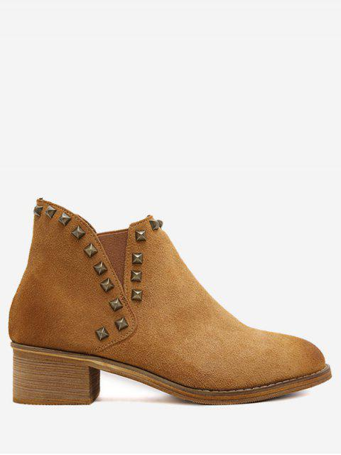 trendy Faux Suede Stud Ankle Boots - DEEP BROWN 39 Mobile