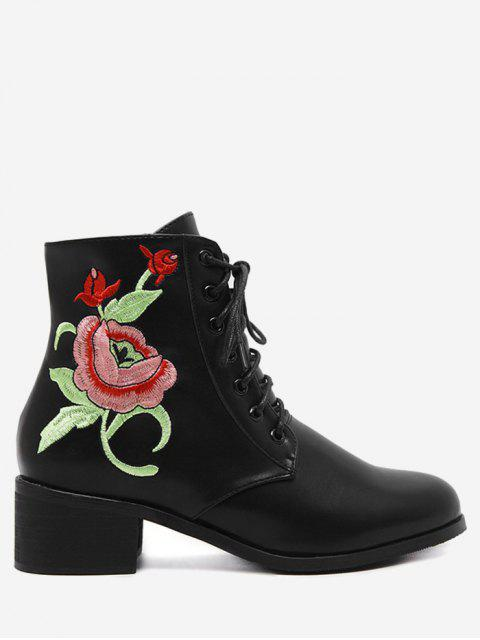 buy Embroidery Faux Leather Tie Up Ankle Boots - BLACK 40 Mobile