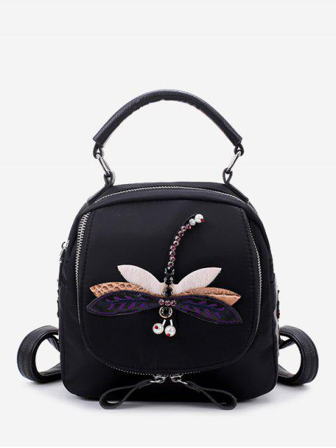 online Zippers Embroidery Nylon Backpack - BLACK AND PURPLE  Mobile
