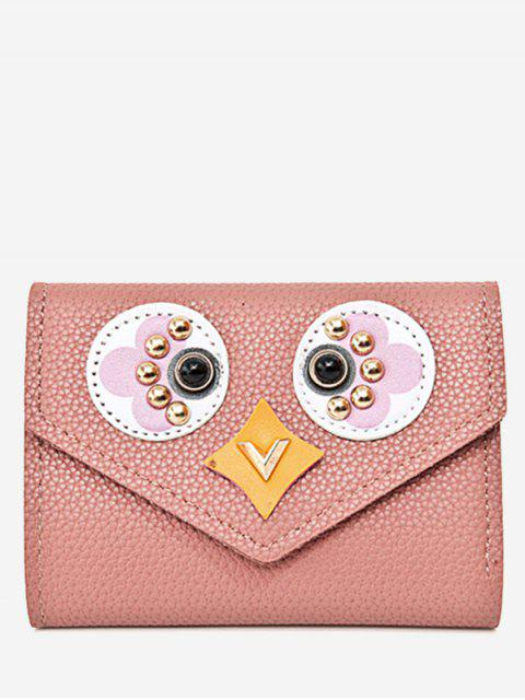new Studded Envelope Textured Leather Small Wallet - PINK  Mobile