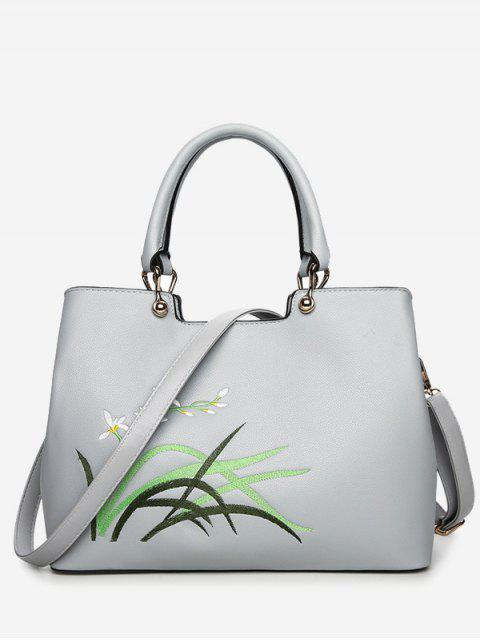 shops Faux Leather Embroidered Handbag With Strap - PANTONE TURQUOISE  Mobile