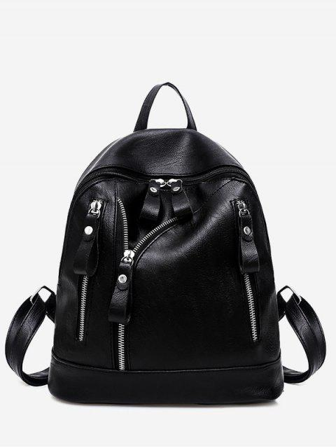 chic Faux Leather Zipper Backpack - BLACK  Mobile