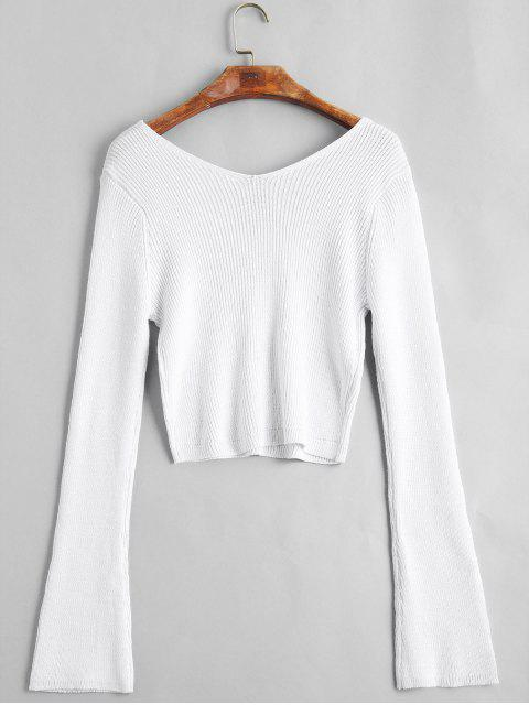 fancy Flare Sleeve Cropped V Neck Sweater - WHITE ONE SIZE Mobile