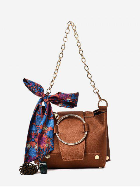 womens Metal Ring Chain Scarf Shoulder Bag - BROWN  Mobile