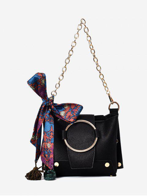 women Metal Ring Chain Scarf Shoulder Bag - BLACK  Mobile