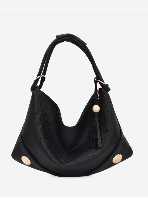 ladies PU Leather Zipper Tassel Shoulder Bag - BLACK  Mobile
