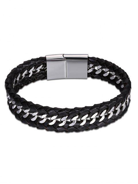 Cool Brazalete de cuero de imitación Braid - Negro  Mobile