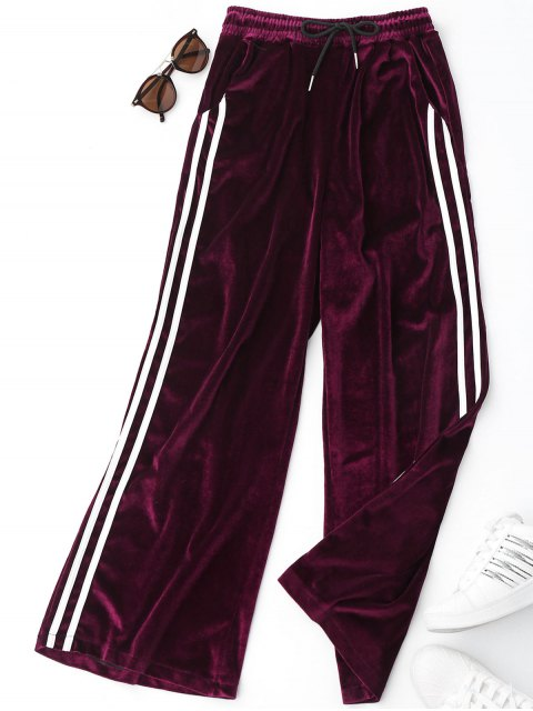 online Side Stripe Velvet Pants - PURPLISH RED ONE SIZE Mobile