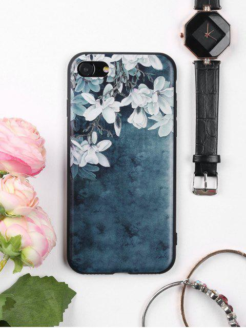Flores patrón de la caja de teléfono suave para iphone - AZUL TINTA Por IPHONE 7 Mobile