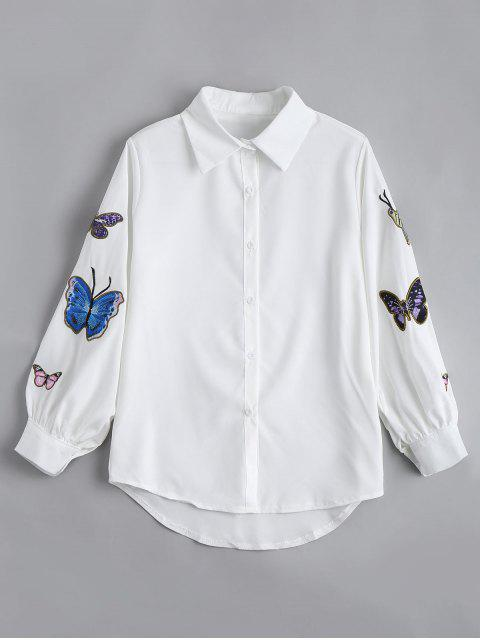 online Butterfly Embroidered Casual Puff Sleeve Blouse - WHITE M Mobile