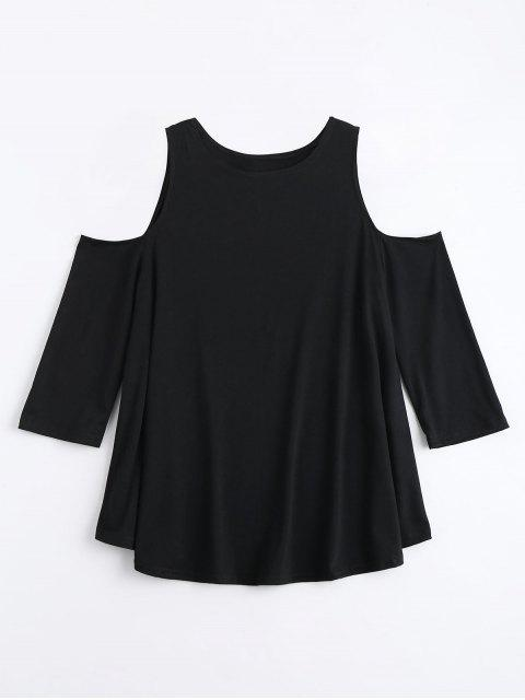 hot Cold Shoulder Long Tunic Tee - BLACK S Mobile