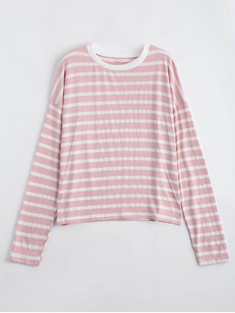fashion Drop Shoulder Striped Long Sleeve Tee - SHALLOW PINK S Mobile