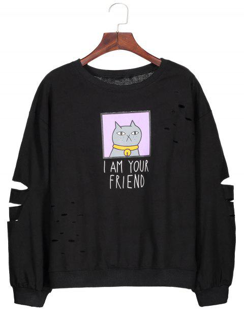 fashion Graphic Cartoon Print Ripped Sweatshirt - BLACK ONE SIZE Mobile
