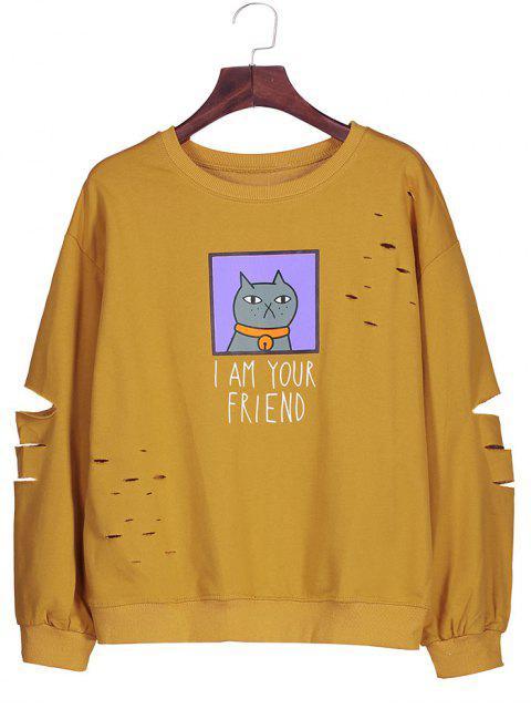 women Graphic Cartoon Print Ripped Sweatshirt - DEEP YELLOW ONE SIZE Mobile