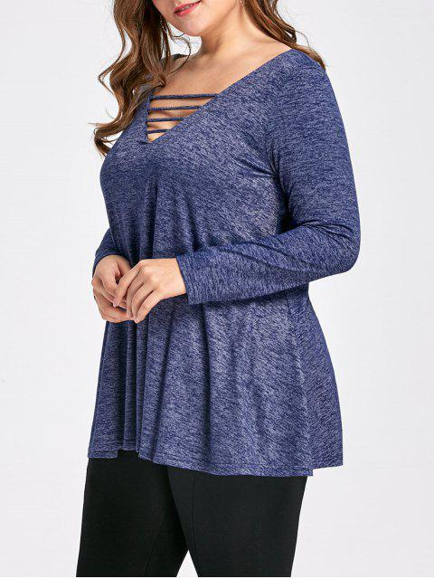 affordable Plus Size Marled Ladder Cutout Top - DEEP BLUE XL Mobile