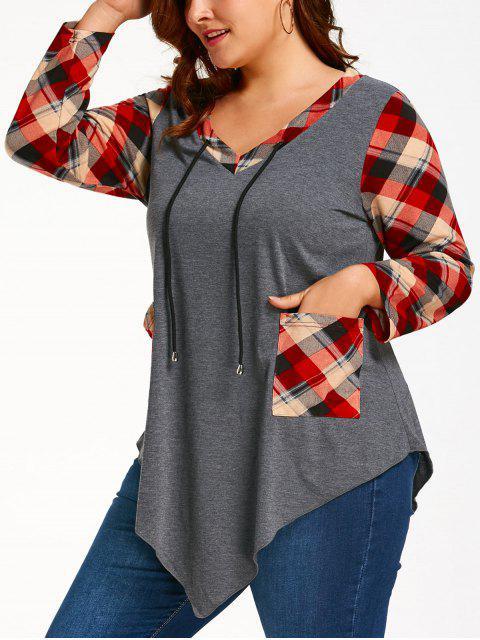 Tartan Übergroße Langarm Asymmetrisches T-Shirt - Grau und Rot 5XL Mobile