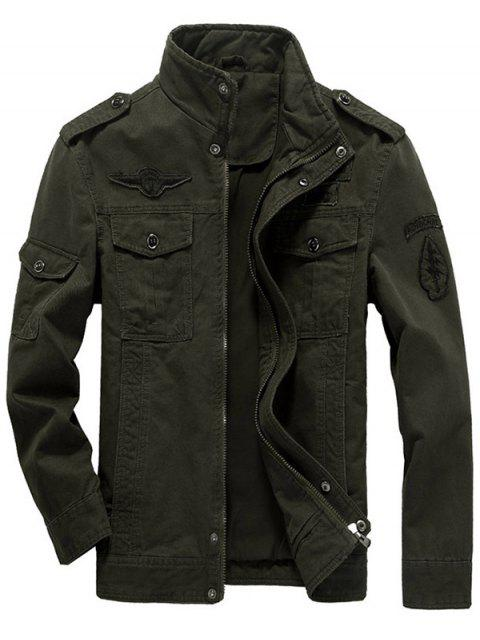 women Epaulet Design Zip Up Patch Jacket - OLIVE GREEN 5XL Mobile