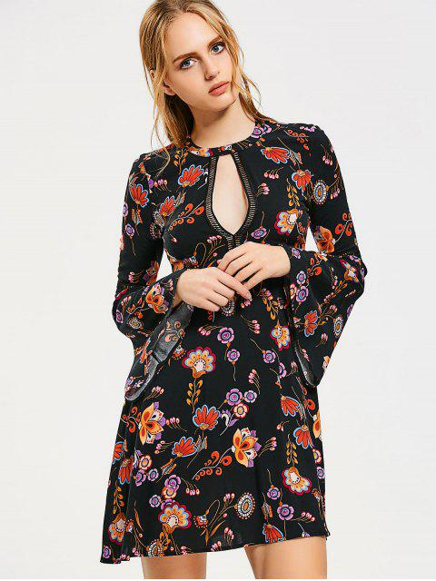 best Flare Sleeve Floral Cut Out Mini Dress - BLACK L Mobile