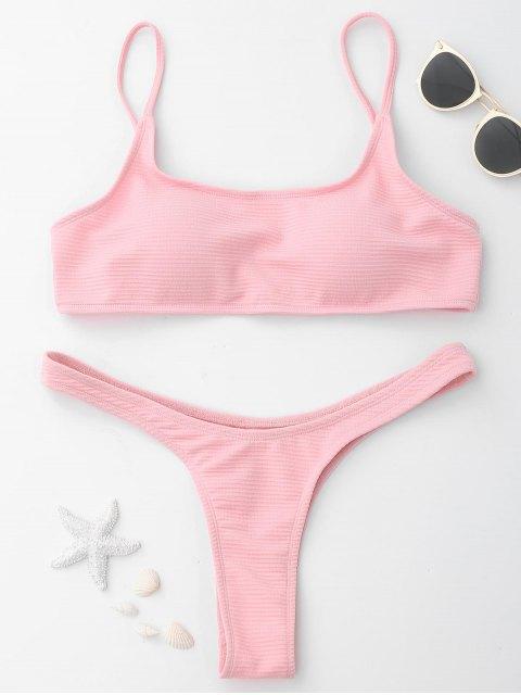 trendy High Cut Thong Bikini - PINK M Mobile