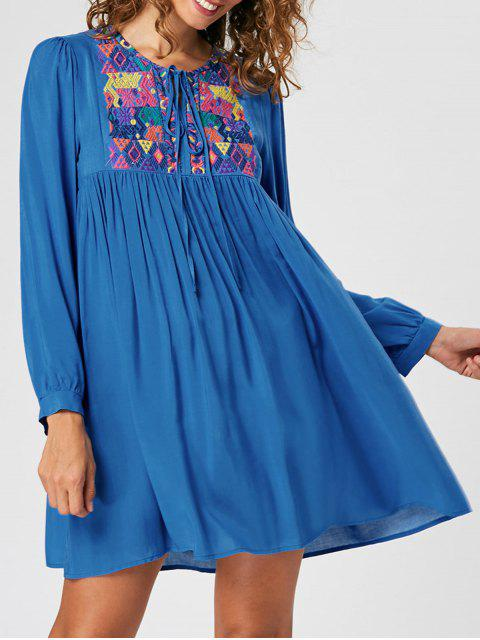 womens Embroidery Babydoll Dress - BLUE 2XL Mobile