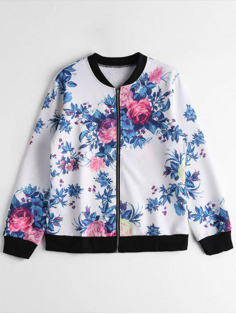 fashion Zip Up Floral Pilot Jacket - WHITE L Mobile