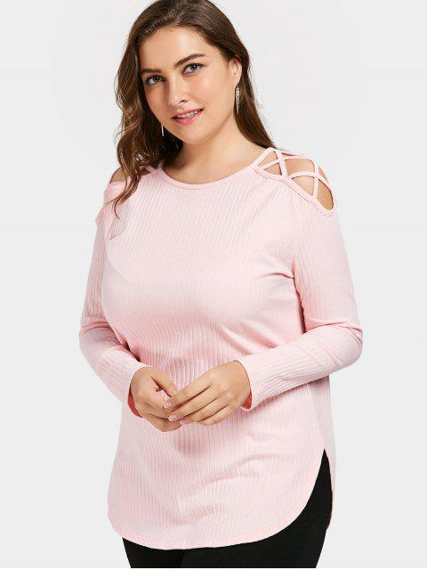 fancy Cold Shoulder Strappy Plus Size T-shirt - LIGHT PINK 2XL Mobile