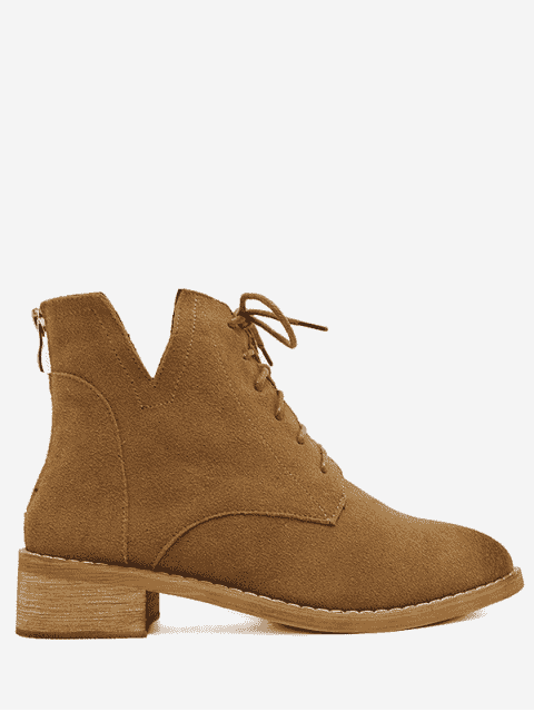 online Suede Stitching Martin Boots With Zipper - DEEP BROWN 39 Mobile