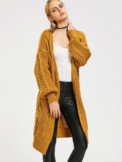 Loose Cable Knit Open Front Cardigan - Yellow