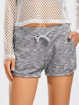 Heathered Drawstring Sports Shorts