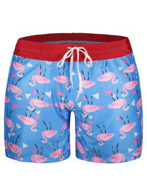 Patch Flamingo Print Swim Trunks