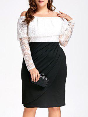 Lace Plus Size Off Shoulder Formal Dress - White And Black 5xl