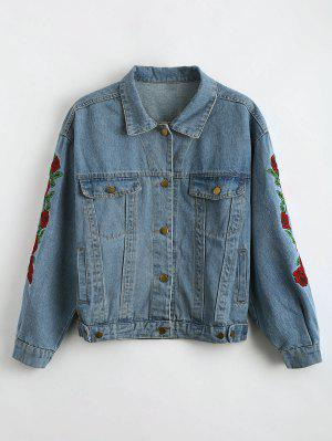 Drop Shoulder Embroidered Denim Jacket - Charm S