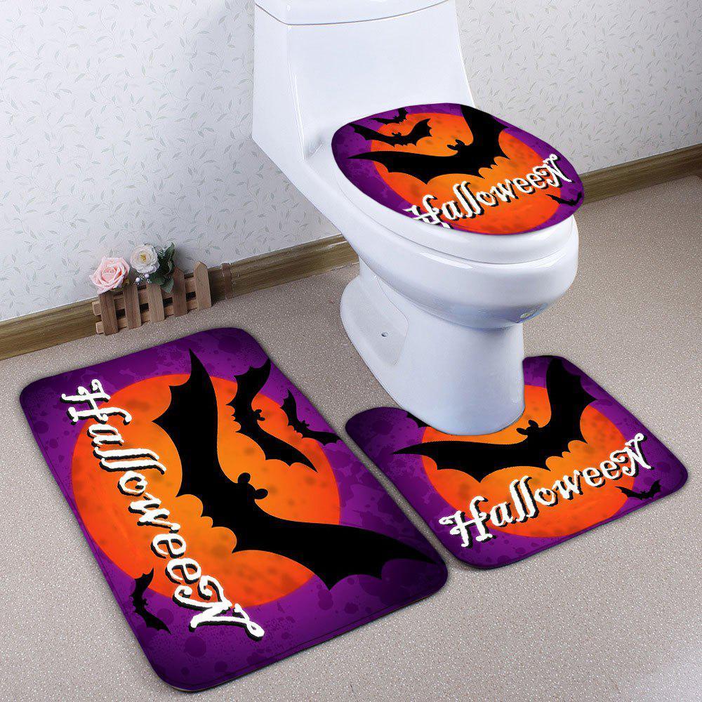 Ensemble matelas de toilette de bain de flanelle de batte de 3PCS Halloween