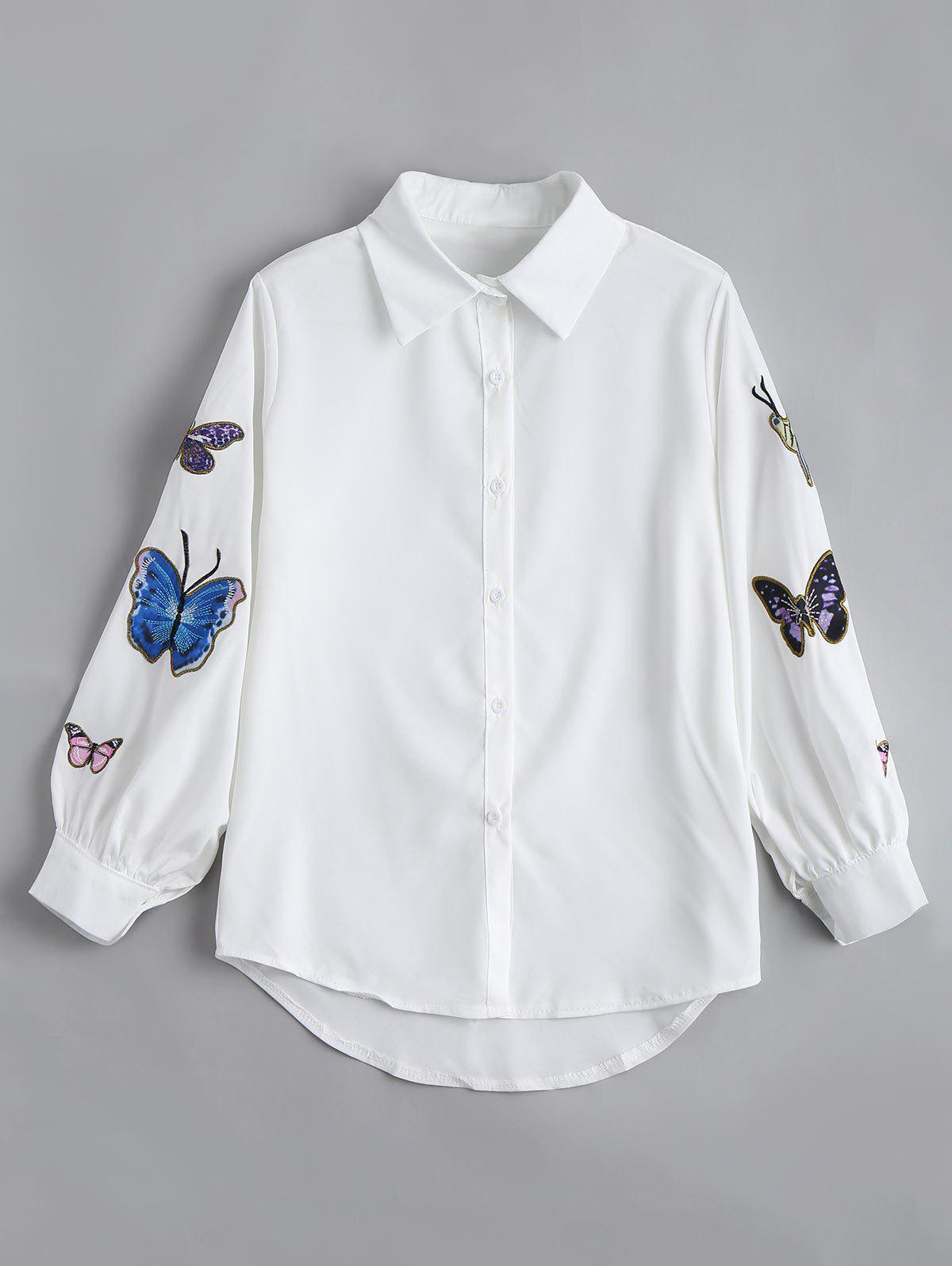 Schmetterling gestickte lssige Puff rmel Bluse